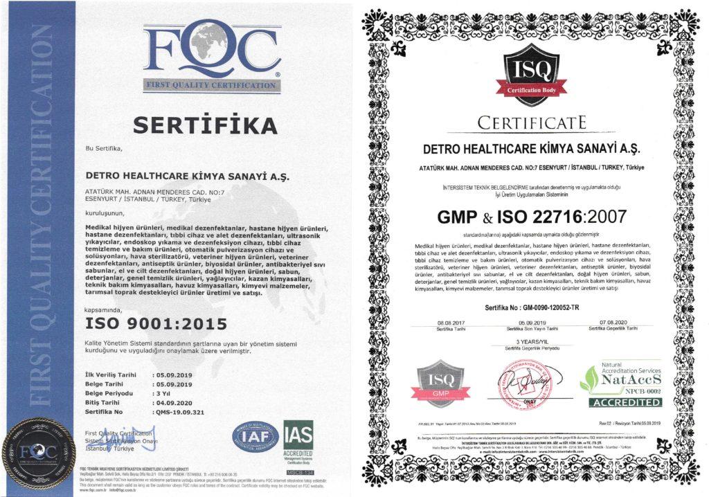 Dezenfektanlarımızın İso 9001 Belgesi, Kalite Sertifikası ve Sağlık Bakanlığı Biosidal Ürün Ruhsatnamesi